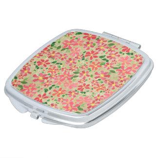 Clematis Pink, Red, Orange Floral Pattern on Taupe Makeup Mirror