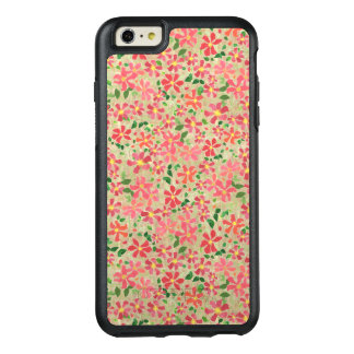 Clematis Pink, Red, Orange Floral Pattern on Taupe OtterBox iPhone 6/6s Plus Case