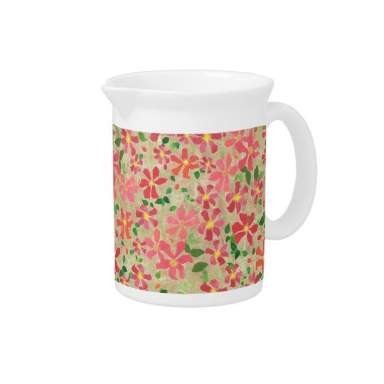 Clematis Pink, Red, Orange Floral Pattern on Taupe Pitcher