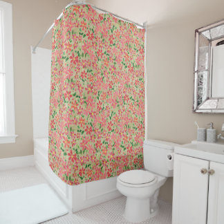 Clematis Pink, Red, Orange Floral Pattern on Taupe Shower Curtain