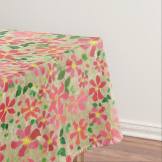Clematis Pink, Red, Orange Floral Pattern on Taupe Tablecloth