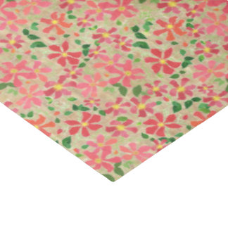 Clematis Pink, Red, Orange Floral Pattern on Taupe Tissue Paper