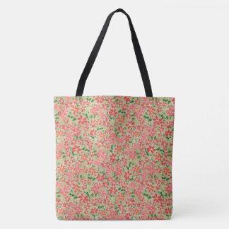 Clematis Pink, Red, Orange Floral Pattern on Taupe Tote Bag