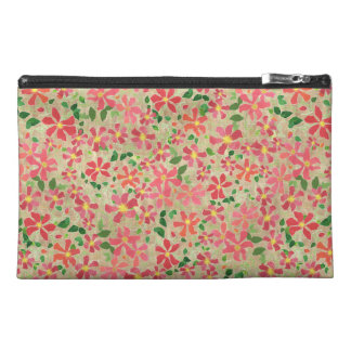 Clematis Pink, Red, Orange Floral Pattern on Taupe Travel Accessory Bag