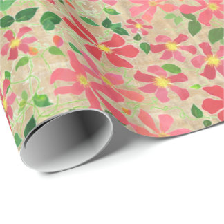 Clematis Pink, Red, Orange Floral Pattern on Taupe Wrapping Paper