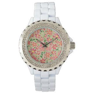 Clematis Pink, Red, Orange Floral Pattern on Taupe Wristwatch