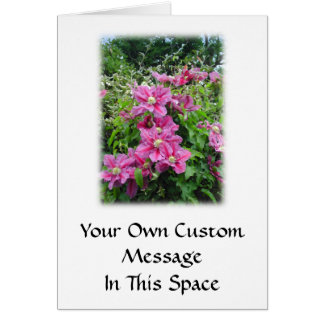 Clematis. Pretty Pink - Purple Flowers. Greeting Card