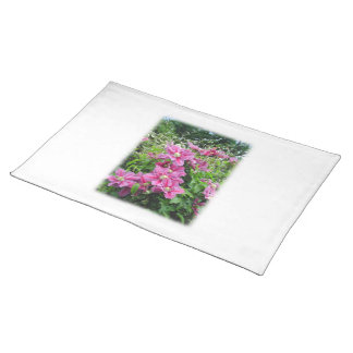 Clematis. Pretty Pink - Purple Flowers. Placemat