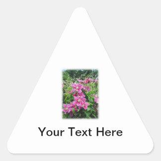 Clematis. Pretty Pink - Purple Flowers. Triangle Sticker