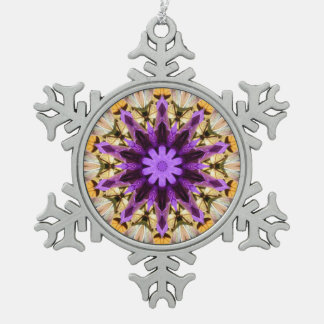 CLEMATIS SNOWFLAKE PEWTER CHRISTMAS ORNAMENT
