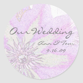 Clematis Wedding Envelope Seal Round Sticker