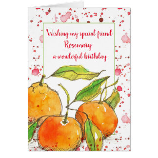 Clementines Fruit Happy Birthday Friend Custom Card