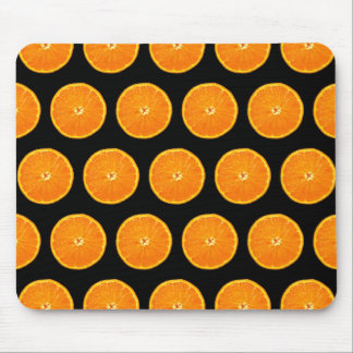 Clementines on Black Mouse Mat