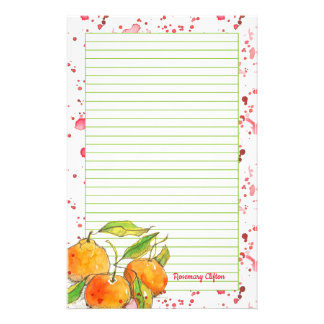 Clemetines Fruit Monogram Lined Letter Writing Stationery