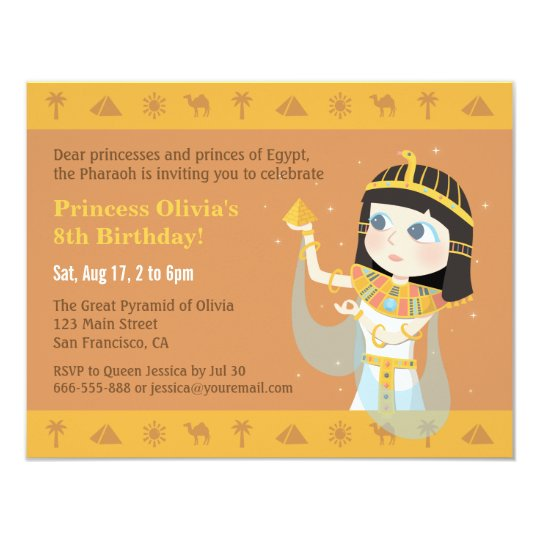 Cleopatra Egyptian Themed Kids Birthday Party Card