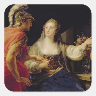 Cleopatra showing Octavius the bust of Julius Square Sticker