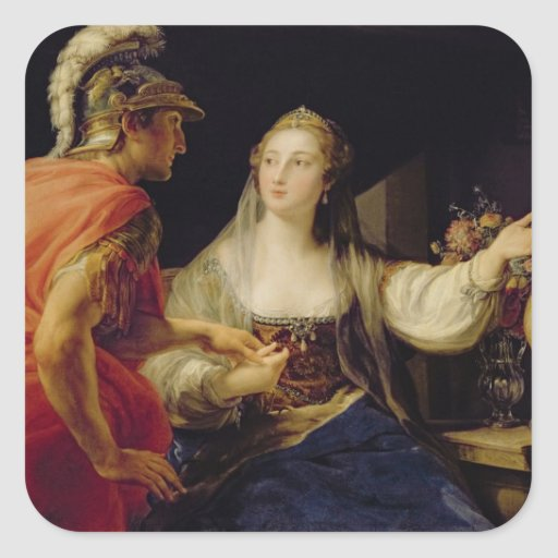 Cleopatra showing Octavius the bust of Julius Square Stickers