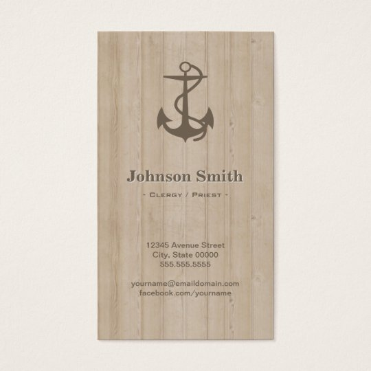 Clergy / Priest - Nautical Anchor Wood Business