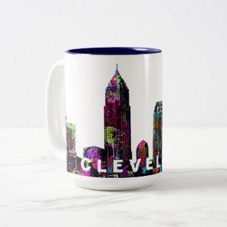 Cleveland graffiti Two-Tone coffee mug