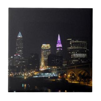 Cleveland, OH Night Skyline (Purple) Ceramic Tile