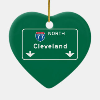 Cleveland, OH Road Sign Christmas Ornament