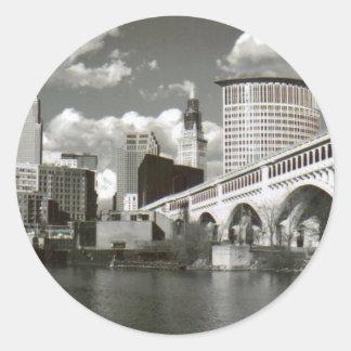 Cleveland Ohio Black and White Classic Round Sticker