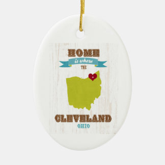 Cleveland, Ohio  Map – Home Is Where The Heart Is Ornament
