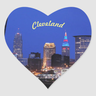 Cleveland,Ohio Night Sky Heart Sticker