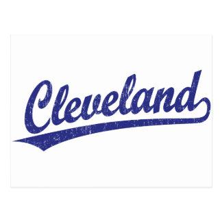 Cleveland script logo in blue postcard