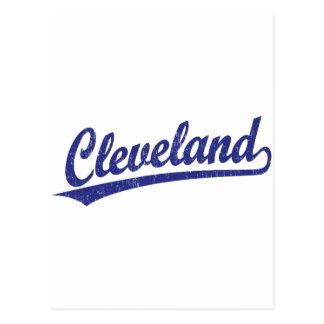 Cleveland script logo in blue post card