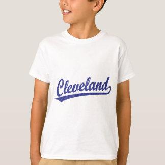 Cleveland script logo in blue T-Shirt
