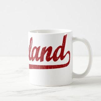 Cleveland script logo in red coffee mug