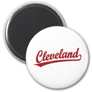 Cleveland script logo in red 6 cm round magnet