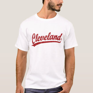 Cleveland script logo in red T-Shirt