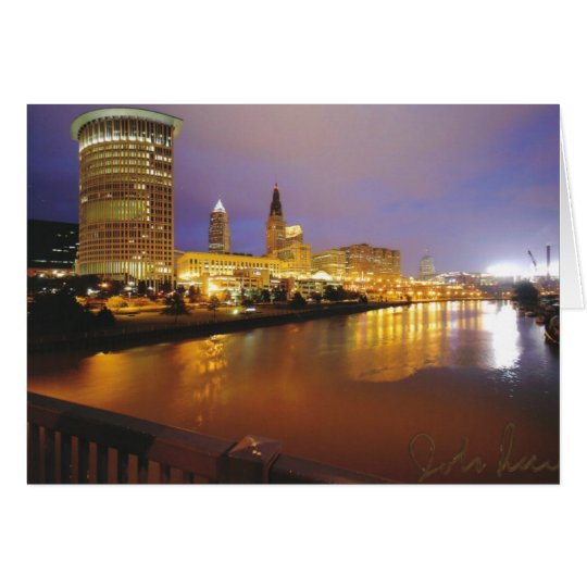 Cleveland Skyline at Night Card