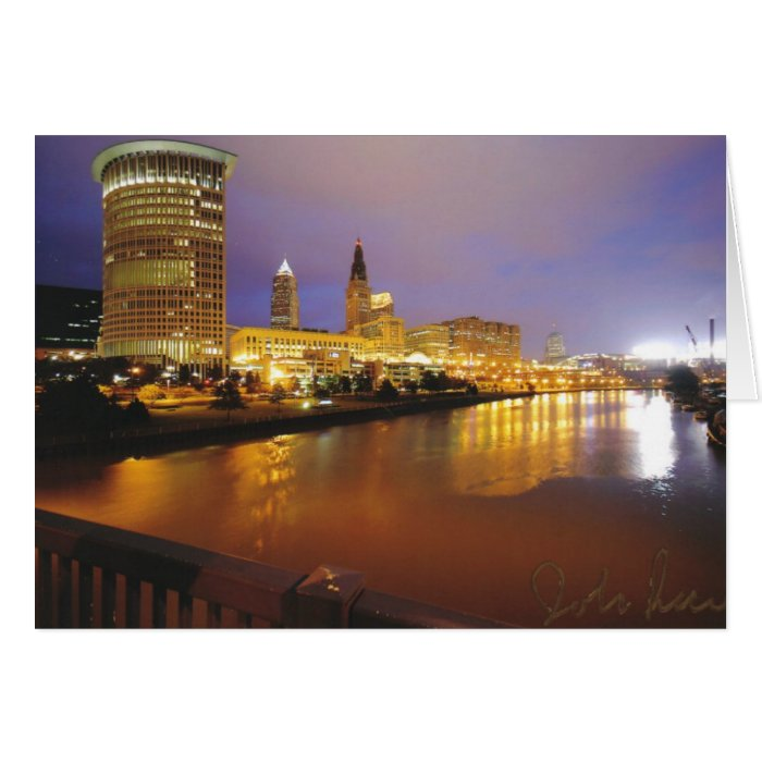 Cleveland Skyline at Night Greeting Card