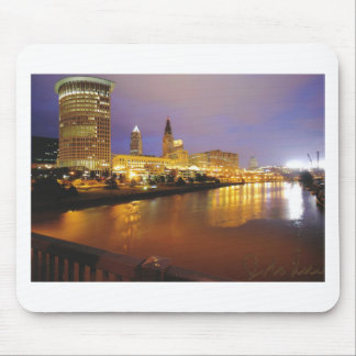 Cleveland Skyline at Night Mouse Mat