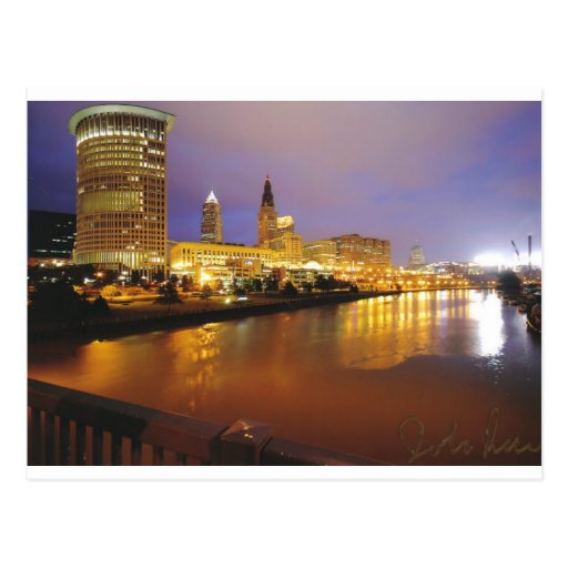 Cleveland Skyline at Night Post Cards