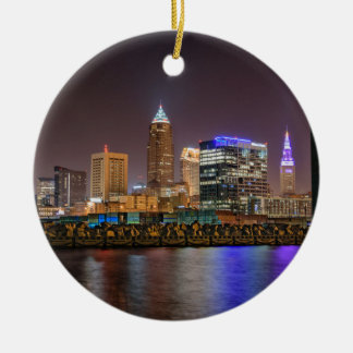 Cleveland Skyline at Night Round Ceramic Decoration