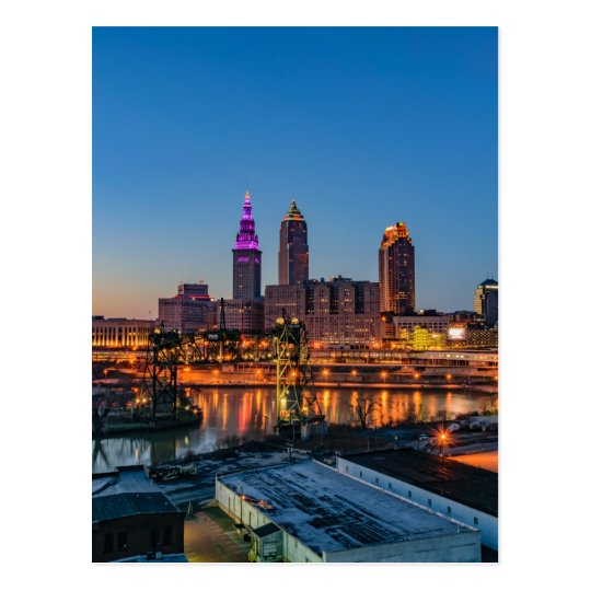 Cleveland Skyline at Sunset Postcard