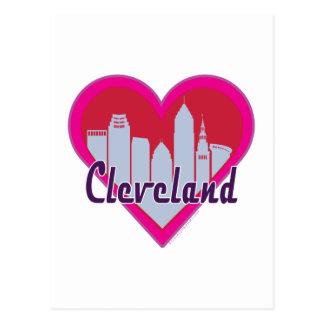 Cleveland Skyline Heart Postcard