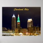 Cleveland Skyline (Holiday lights)Poster