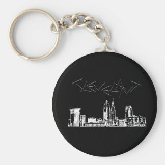 Cleveland Skyline Basic Round Button Key Ring
