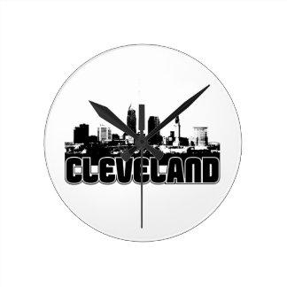 Cleveland Skyline Round Clock