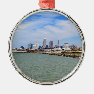 Cleveland Skyline Silver-Colored Round Decoration