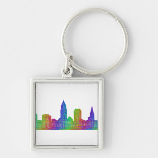Cleveland skyline Silver-Colored square key ring