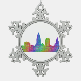 Cleveland skyline snowflake pewter christmas ornament
