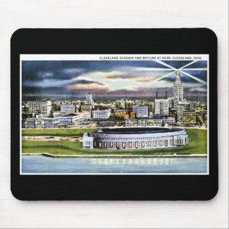 Cleveland Stadium Skyline at Dusk, Cleveland, Ohio Mouse Mat