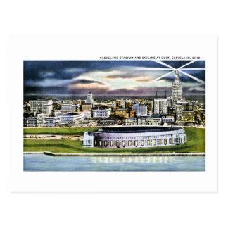 Cleveland Stadium Skyline at Dusk, Cleveland, Ohio Postcard