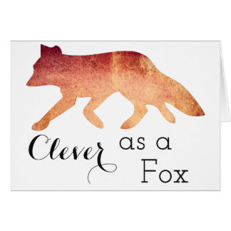 Clever as a Fox Typographical Watercolor Card